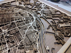 Suffolk University 3D Wooden Laser Cut Campus Map - Silvan Art