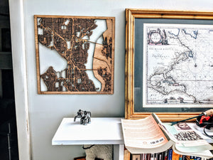 Lyon France - 3D Wooden Laser Cut Map | Unique Gift