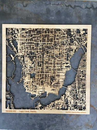Cape Coral Florida - 3D Wooden Laser Cut Map | Unique Gift