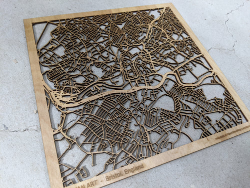 Bristol England- 3D Wooden Laser Cut Map | Unique Gift