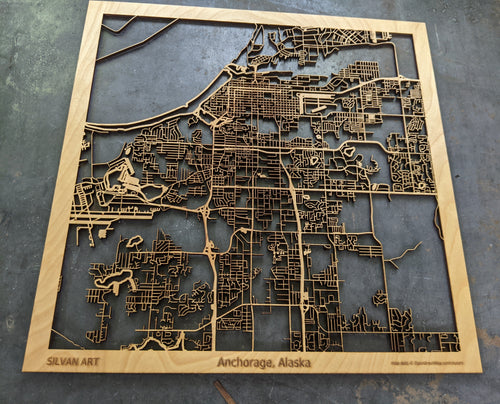 Anchorage, Alaska - 3D Wooden Laser Cut Map | Unique Gift
