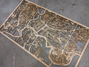 Fort Worth, Texas - 3D Wooden Laser Cut Map