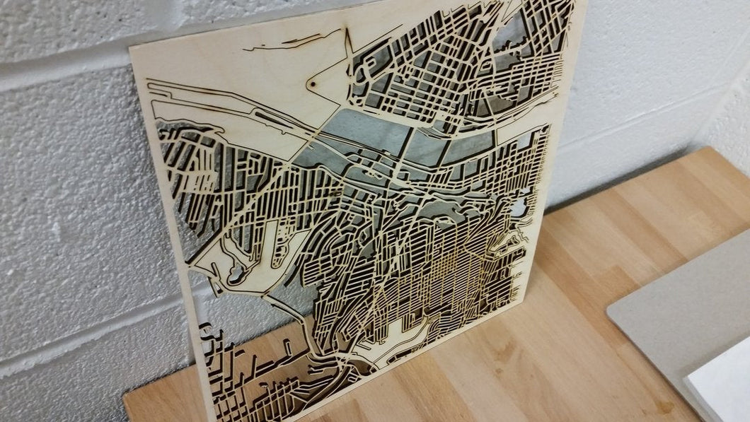 Norfolk, Virginia - 3D Wooden Laser Cut Map