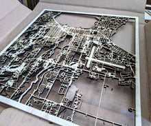 Load image into Gallery viewer, UMass Boston 3D Wooden Laser Cut Campus Map - Silvan Art