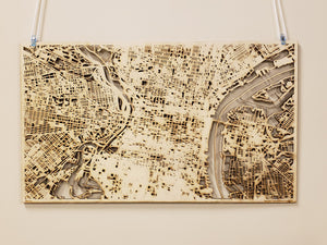 Indiana University of Pennsylvania IUP 3D Wooden Laser Cut Map - Silvan Art
