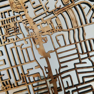 Lasell College 3D Wooden Laser Cut Campus Map
