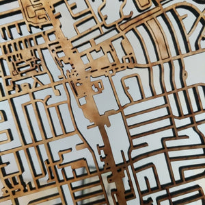 Grinnell College 3D Wooden Laser Cut Campus Map