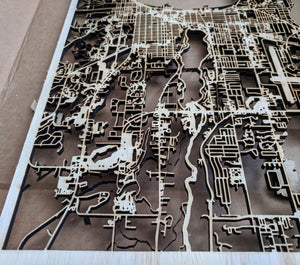 Florida Institute of Technology FIT 3D Wooden Laser Cut Campus Map