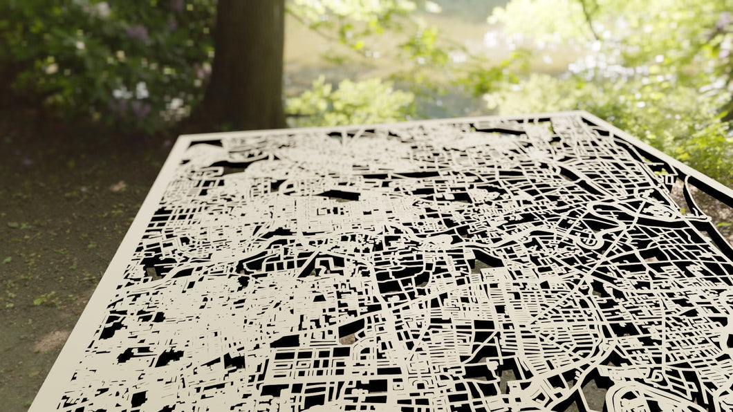 Chennai India - 3D Wooden Laser Cut Map - Silvan Art