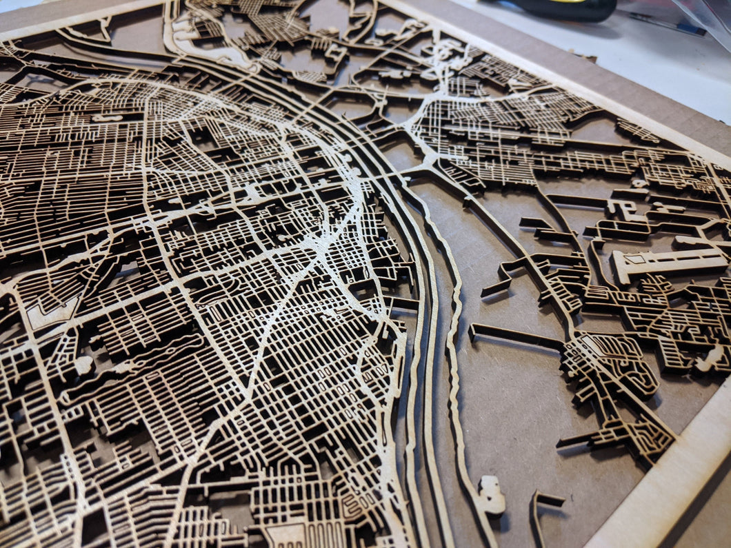 St. Louis, Missouri - 3D Wooden Laser Cut Map
