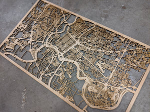 Rennes France - 3D Wooden Laser Cut Map