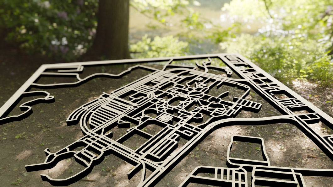 SUNY Farmingdale 3D Wooden Laser Cut Campus Map | Unique Gift - Silvan Art