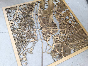 Laser Cut Map New York, NY - Wooden New York City Map, 3D Wooden Map, Unique Gift, Carved Wood Map, Personalized Map Gift | Silvan Art