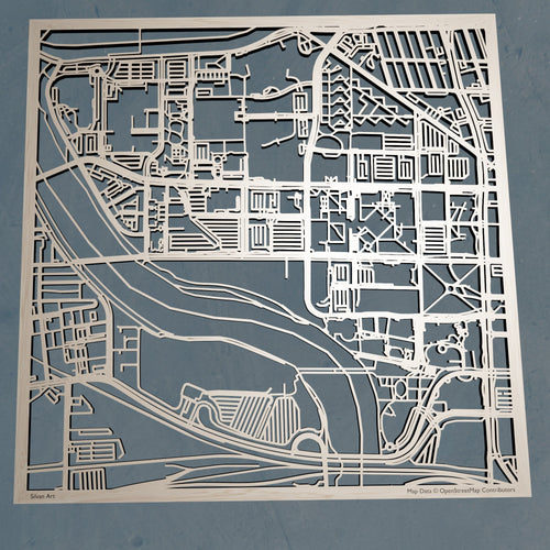 Indiana University-Purdue University Indianapolis 3D Wooden Laser Cut Campus Map | Unique IUPUI Gift