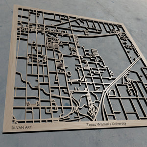 Texas Woman's University TWU 3D Wooden Laser Cut Campus Map | Unique Gift