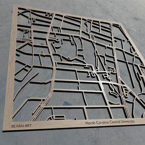 NC Central | North Carolina Central University in Durham NC 3D Wooden Laser Cut Campus Map | Unique Gift