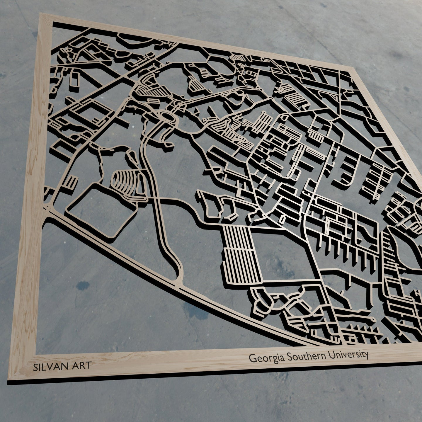 Georgia Southern University in Statesboro GA 3D Wooden Laser Cut Campus Map | Unique Gift | Silvan Art