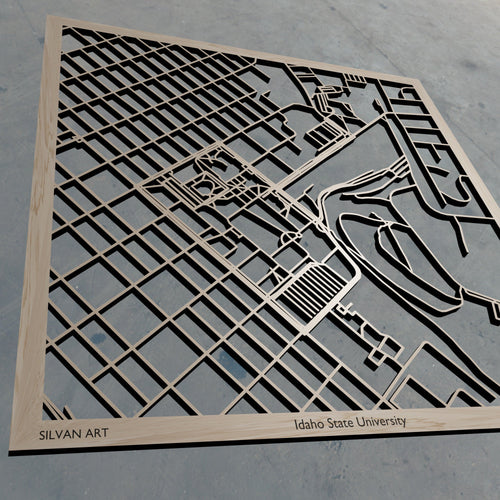 Idaho State University ISU 3D Wooden Laser Cut Campus Map | Unique Gift