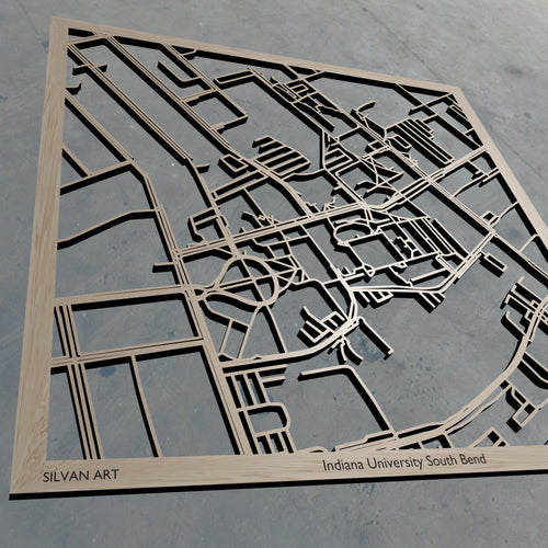 IUSB | Indiana University South Bend in South Bend IN 3D Wooden Laser Cut Campus Map | Unique Gift