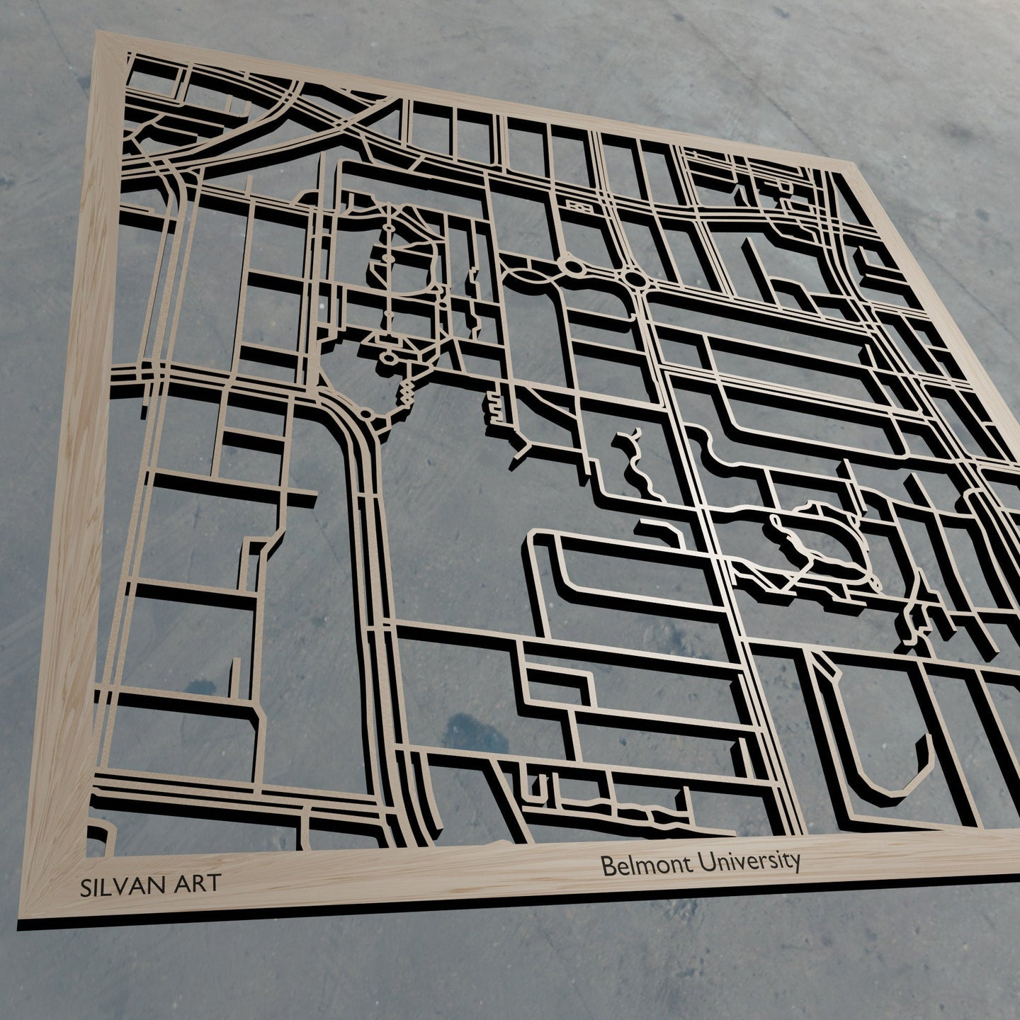 Belmont University in Nashville TN 3D Wooden Laser Cut Campus Map | Unique Gift