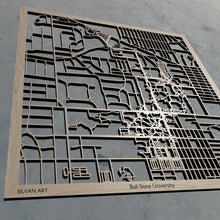 Load image into Gallery viewer, BSU | Ball State University in Muncie IN 3D Wooden Laser Cut Campus Map | Unique Gift | Silvan Art