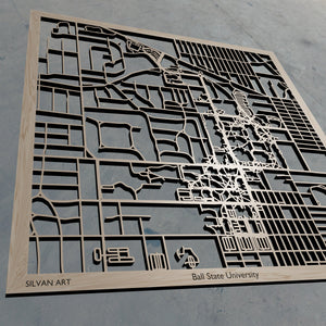 BSU | Ball State University in Muncie IN 3D Wooden Laser Cut Campus Map | Unique Gift | Silvan Art
