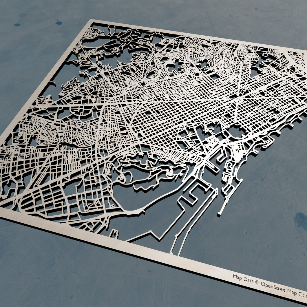Barcelona Spain - 3D Wooden Laser Cut Map | Unique Gift