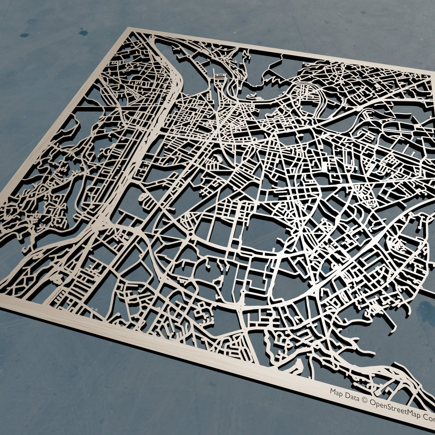 Grenoble France - 3D Wooden Laser Cut Map | Unique Gift