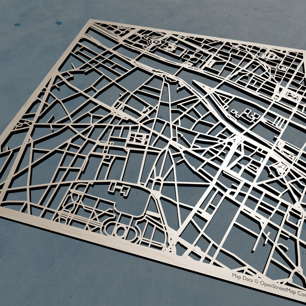 PSL Université Paris Sciences et Lettres  3D Wooden Laser Cut Campus Map - Silvan Art