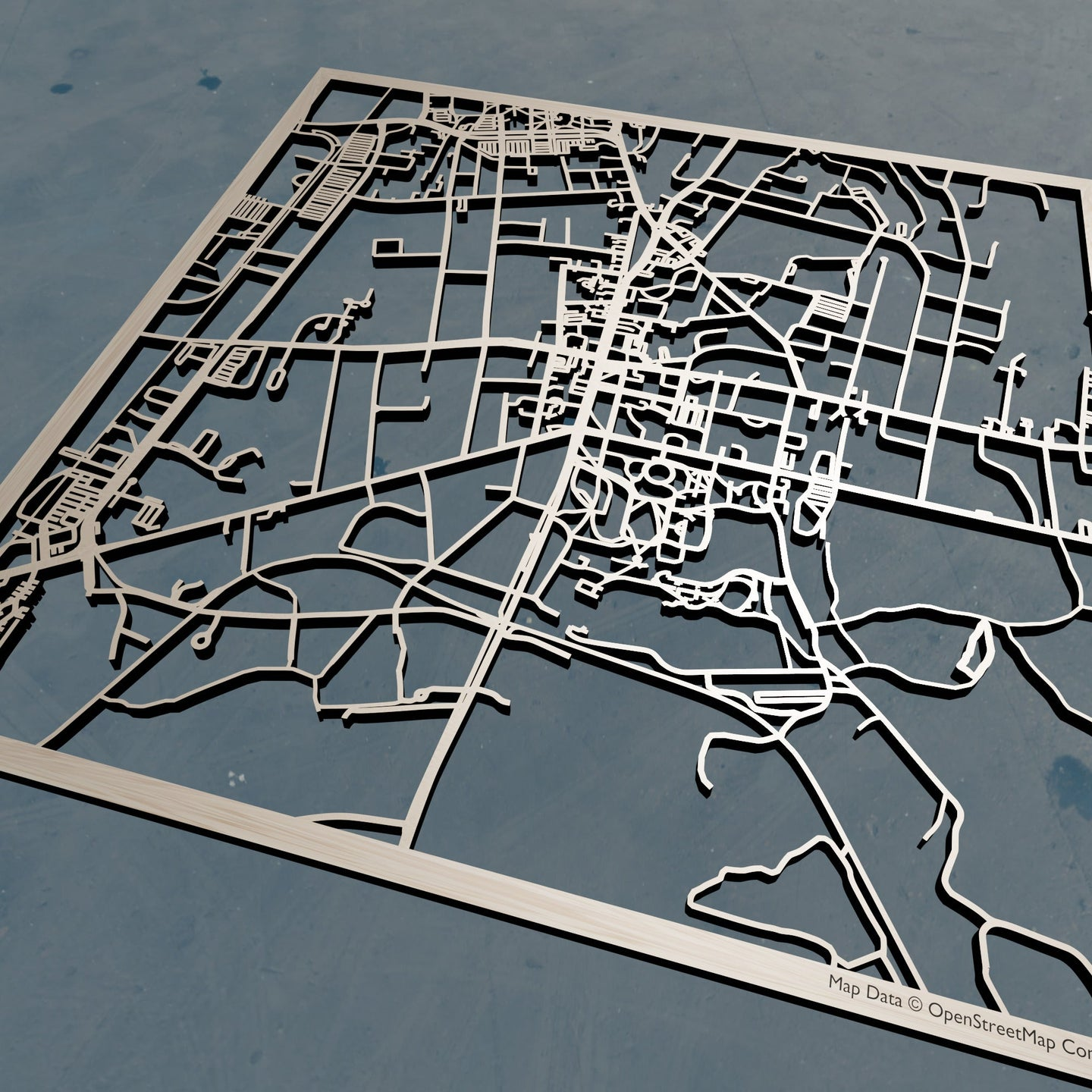 Amherst College 3D Wooden Laser Cut Campus Map | Unique Gift
