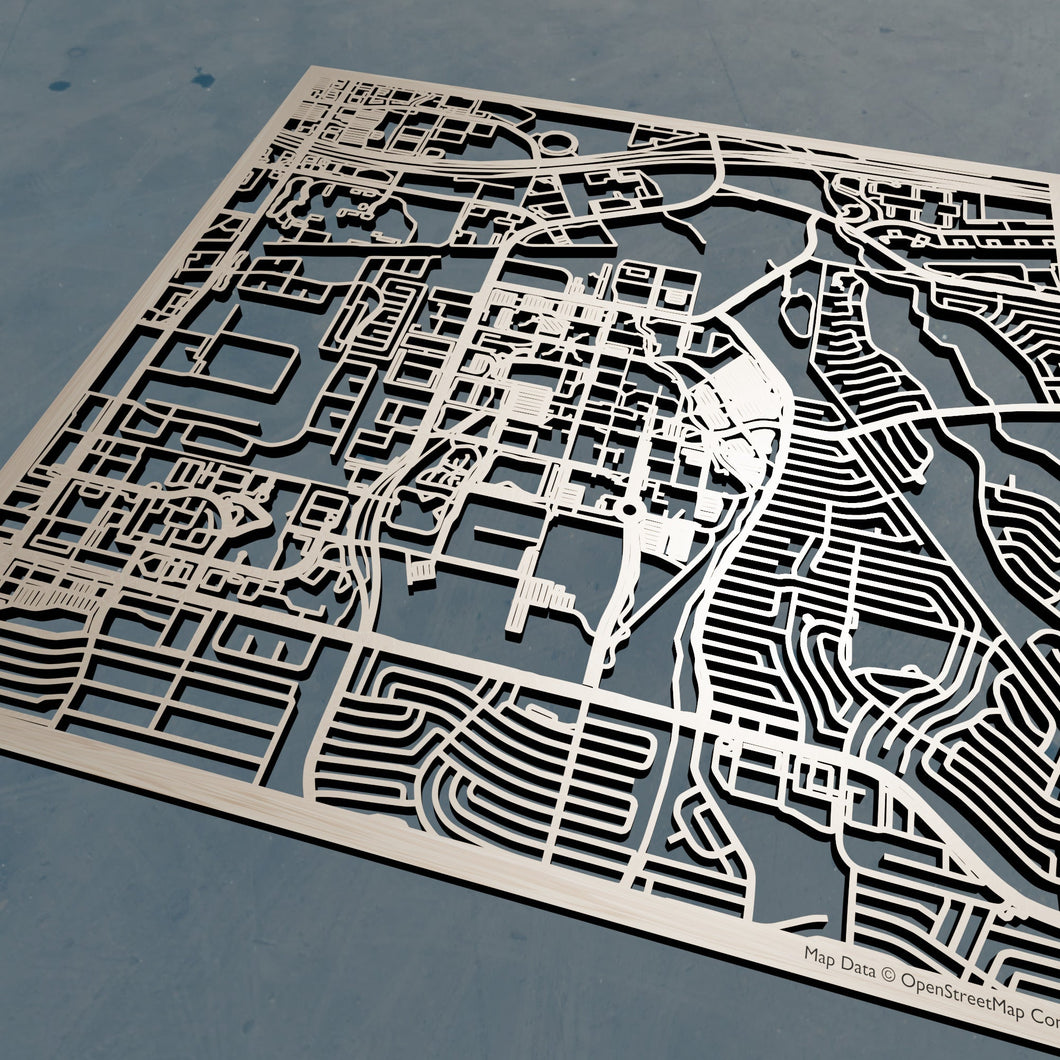 UT Dallas - University of Texas at Dallas 3D Wooden Laser Cut Campus Map | Unique Gift
