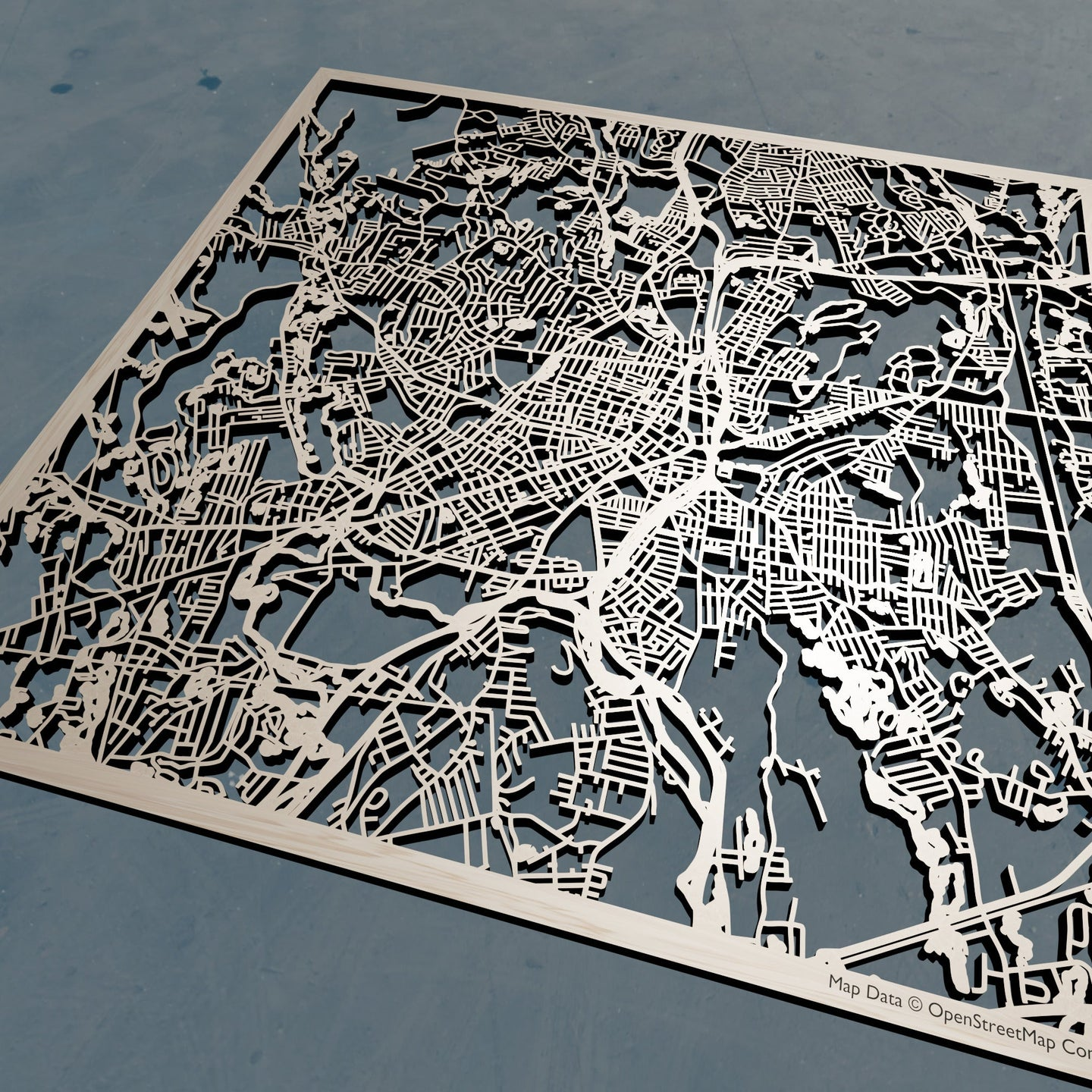 Worcester Massachusetts - 3D Wooden Laser Cut Map | Unique Gift
