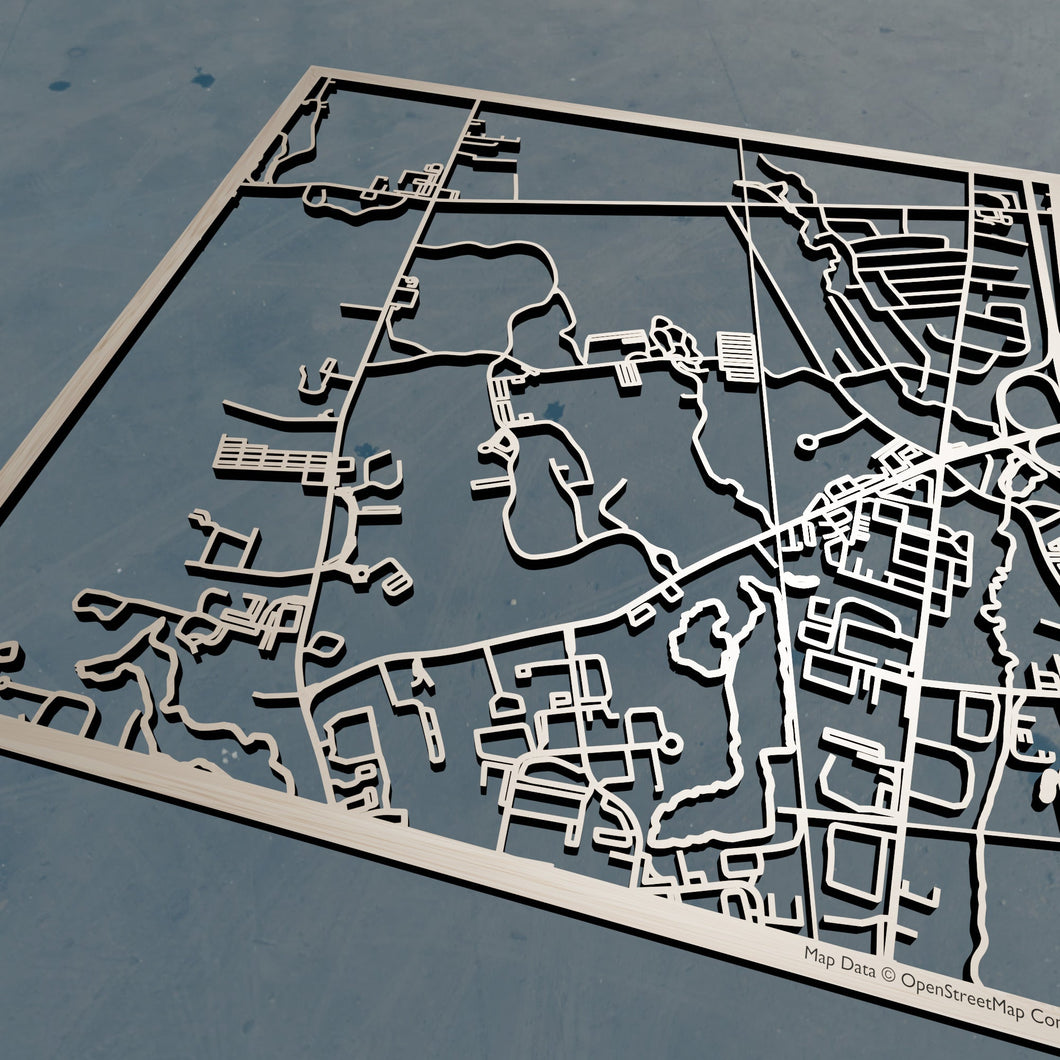 Stonehill College 3D Wooden Laser Cut Campus Map | Unique Gift - Silvan Art