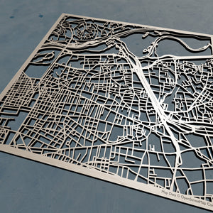 Villeurbanne France - 3D Wooden Laser Cut Map | Unique Gift