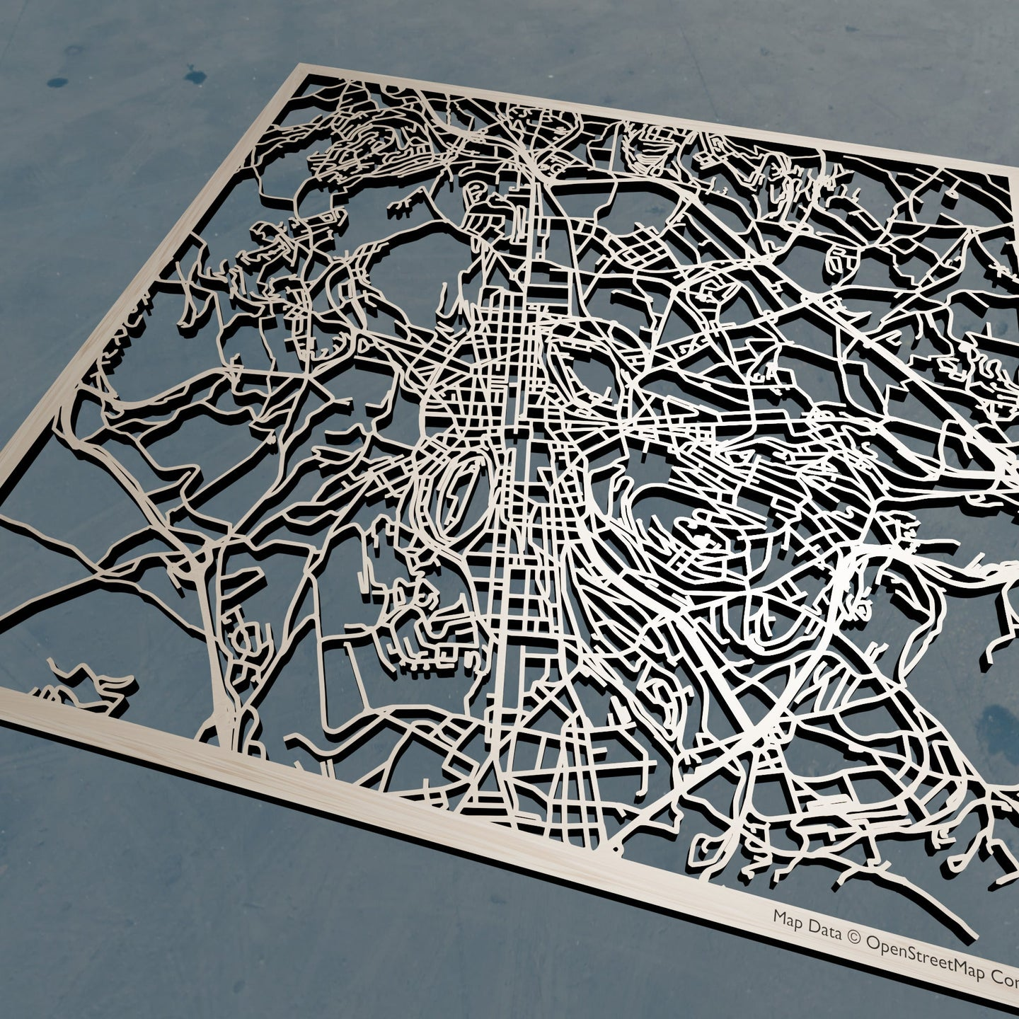 Saint-Etienne France - 3D Wooden Laser Cut Map | Unique Gift