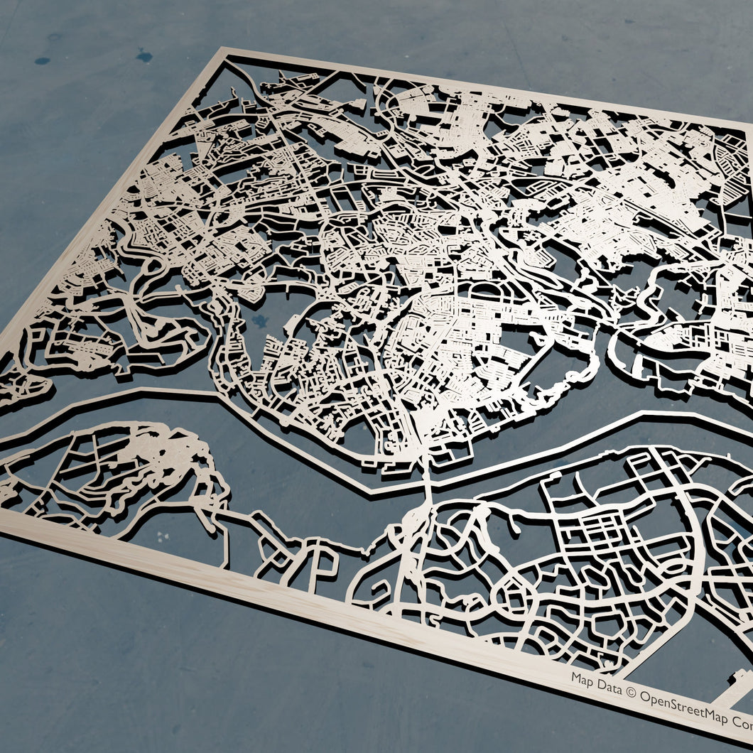 Johor Bahru Malaysia- 3D Wooden Laser Cut Map | Unique Gift
