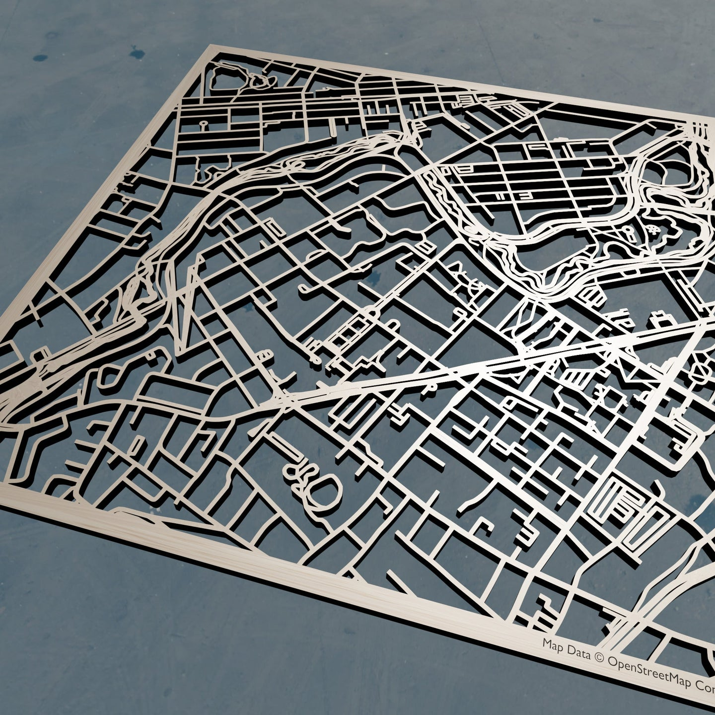 MCPHS University 3D Wooden Laser Cut Campus Map | Unique Gift - Silvan Art