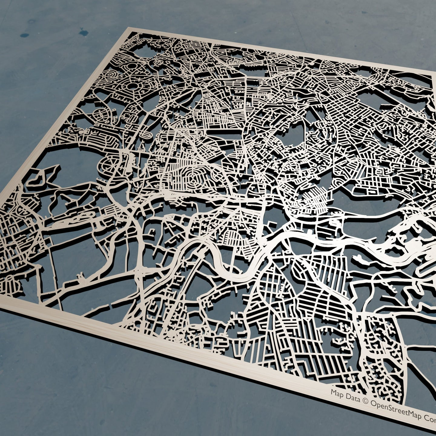 Nottingham England - 3D Wooden Laser Cut Map | Unique Gift