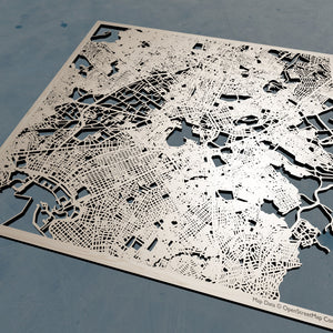 Athens Greece - 3D Wooden Laser Cut Map