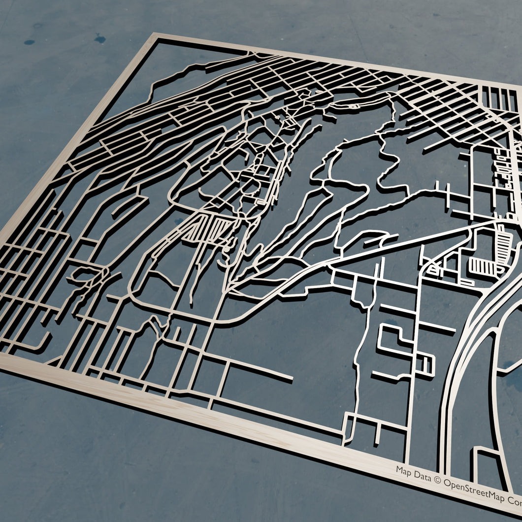 Western Washington University WWU 3D Wooden Laser Cut Campus Map | Unique Gift