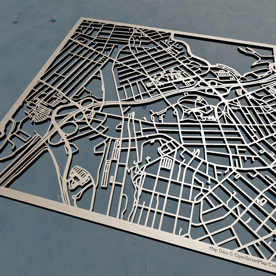 USM University of Southern Maine 3D Wooden Laser Cut Campus Map - Silvan Art