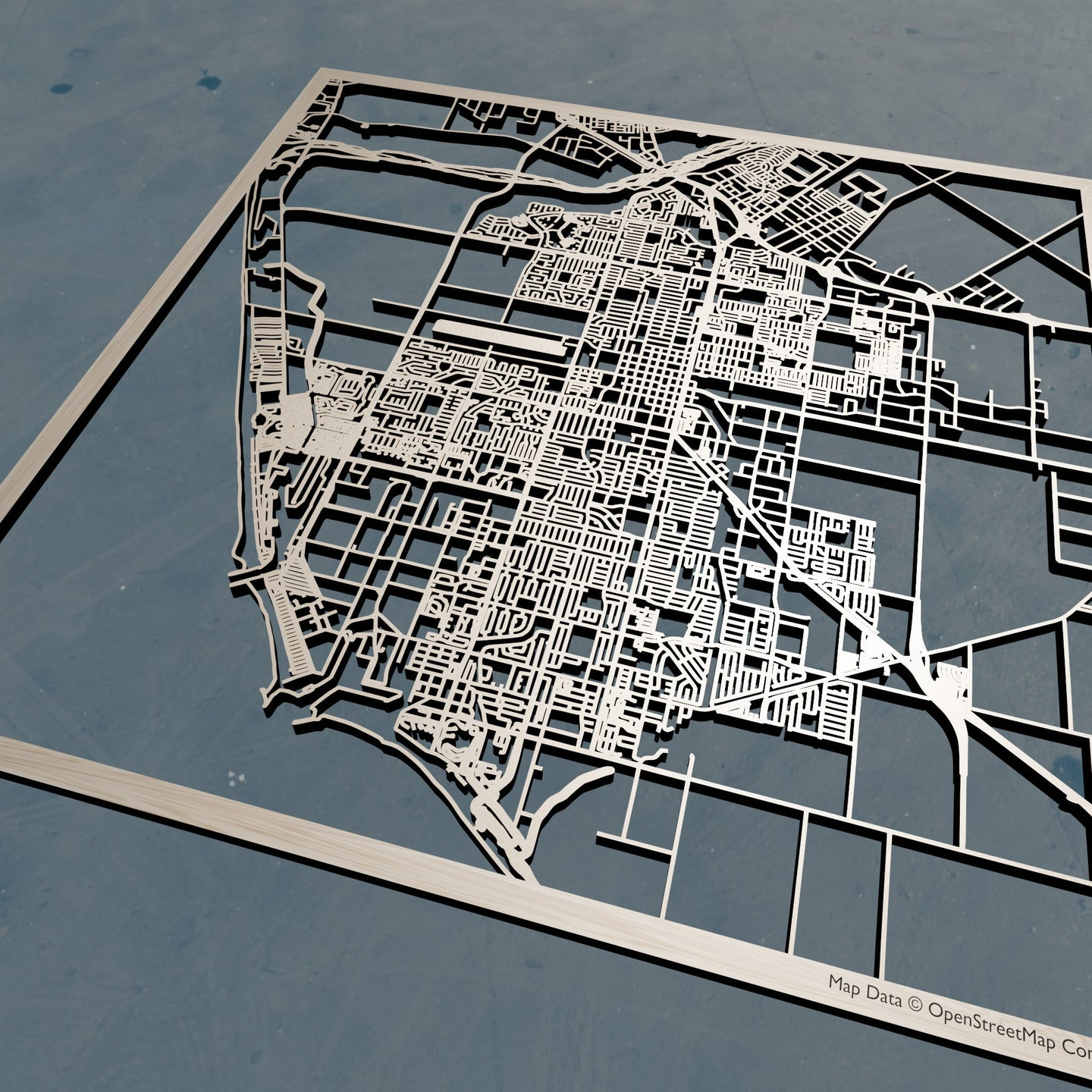 Oxnard, California - 3D Wooden Laser Cut Map | Unique Gift