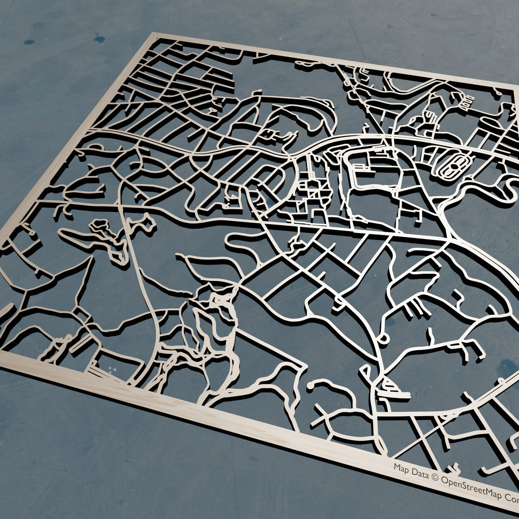 Babson College 3D Wooden Laser Cut Campus Map