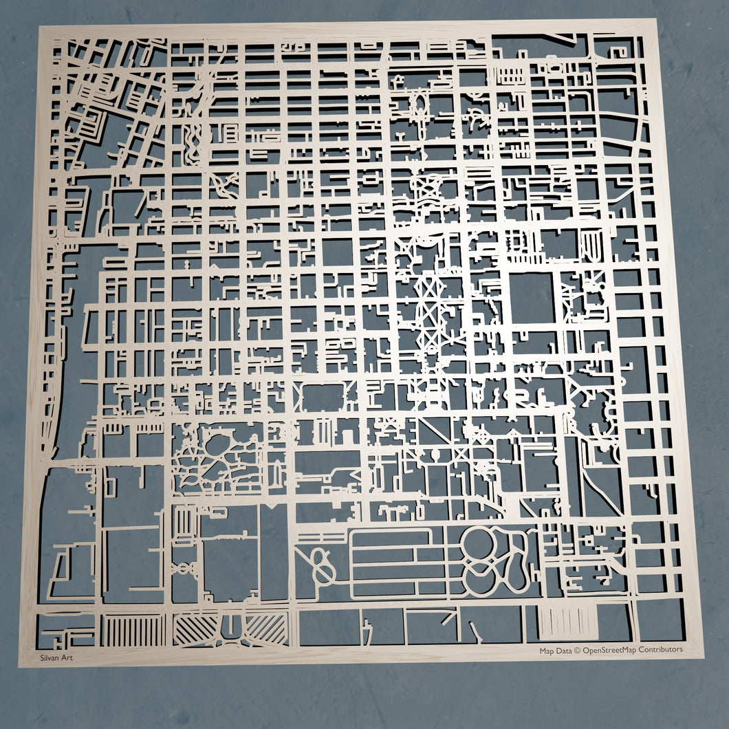 UIUC University of Illinois at Urbana-Champaign - 3D Wooden Laser Cut Campus Map