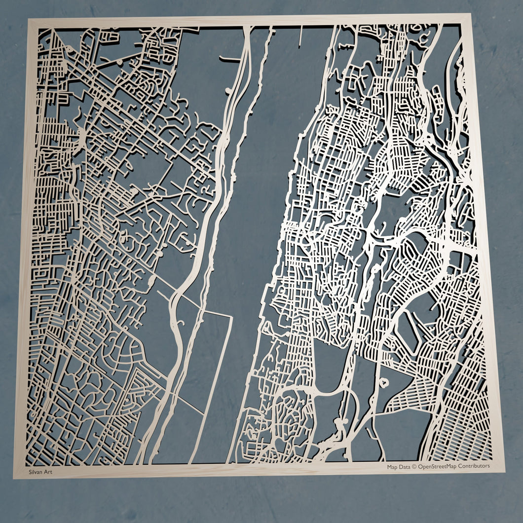 Yonkers New York - 3D Wooden Laser Cut Map