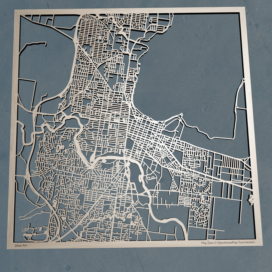 Geelong Australia - 3D Wooden Laser Cut Map