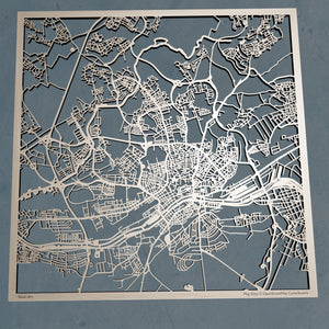 Frankfurt Germany - 3D Wooden Laser Cut Map