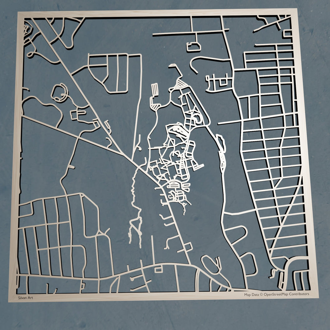 University of  Hartford 3D Wooden Laser Cut Campus Map - Silvan Art