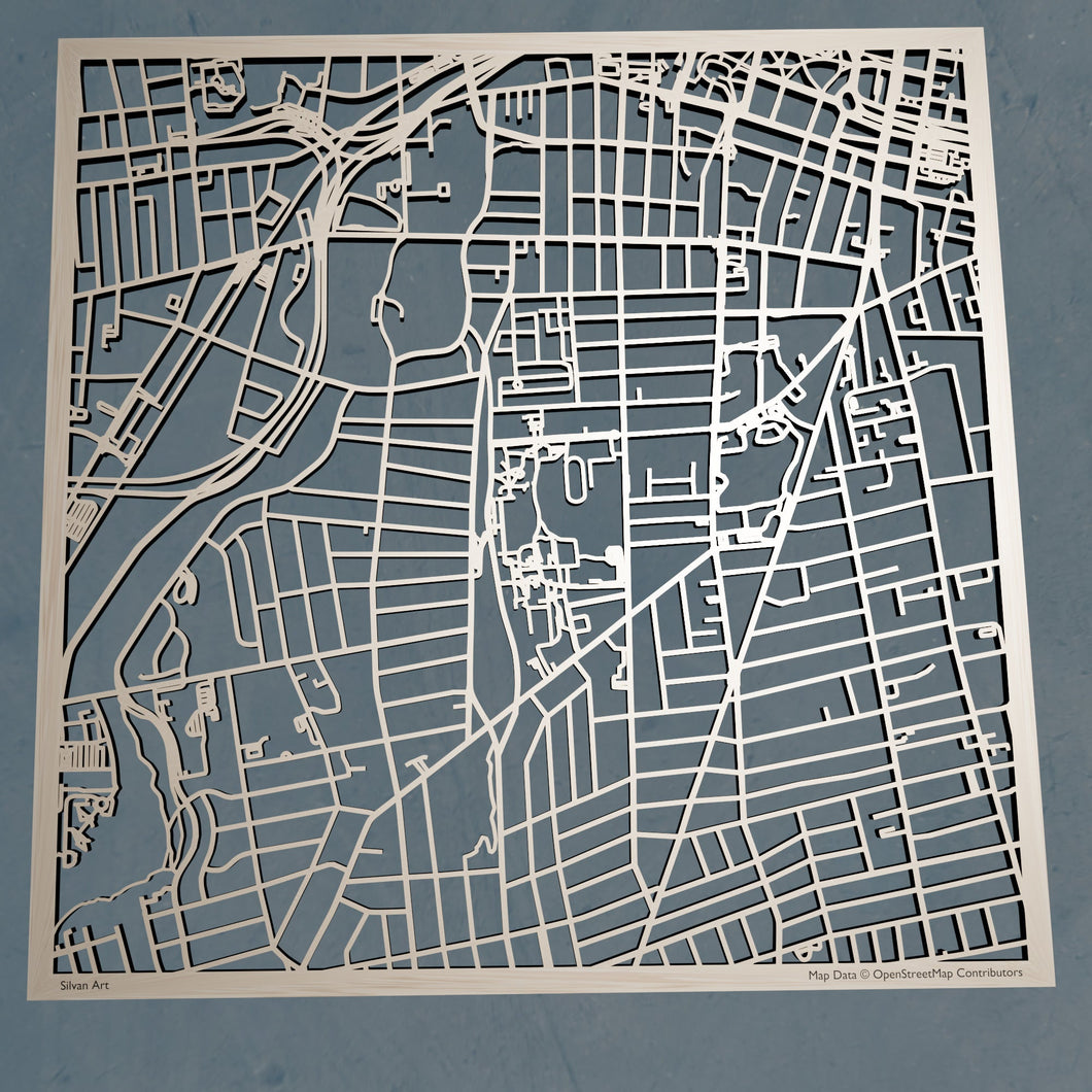 Trinity College (Hartford) 3D Wooden Laser Cut Campus Map | Unique Gift - Silvan Art