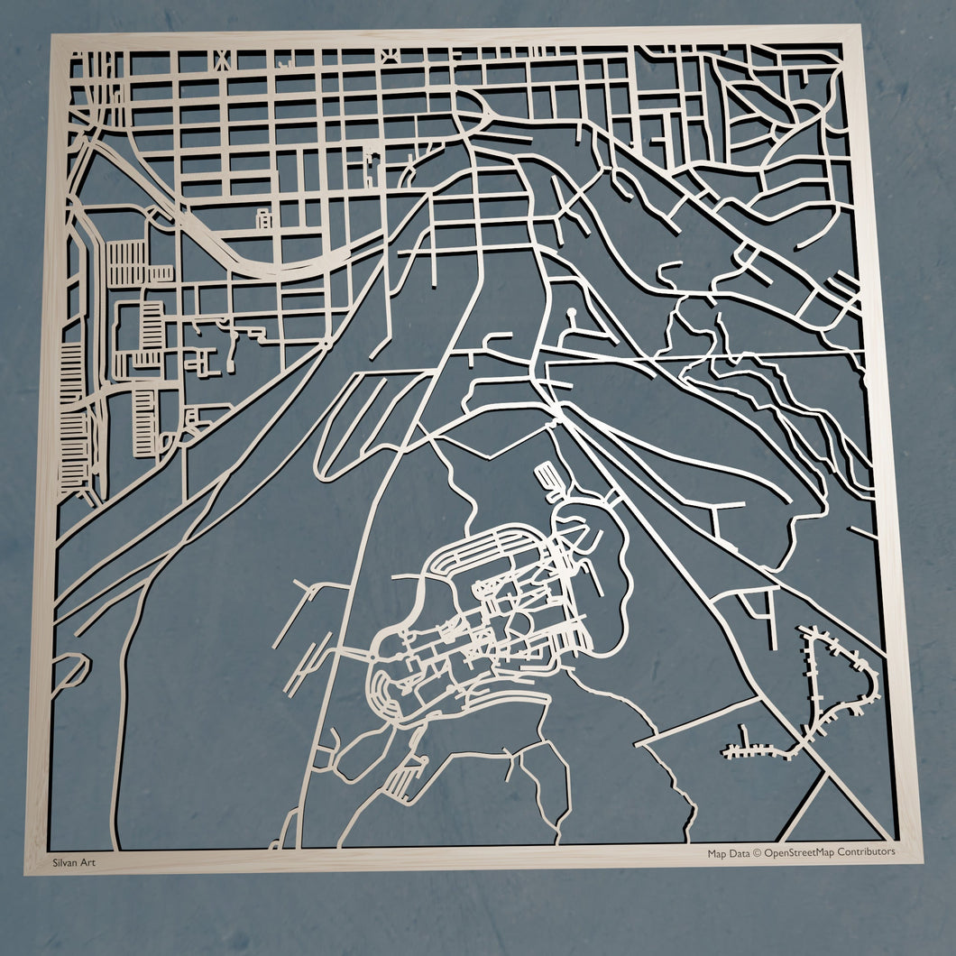 Ithaca College 3D Wooden Laser Cut Map | Unique Gift - Silvan Art